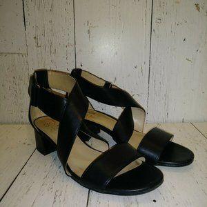 Naturalizer Block Heels Black Leather Sandals